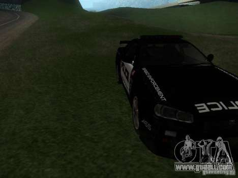 Nissan Skyline R34 Police for GTA San Andreas back view