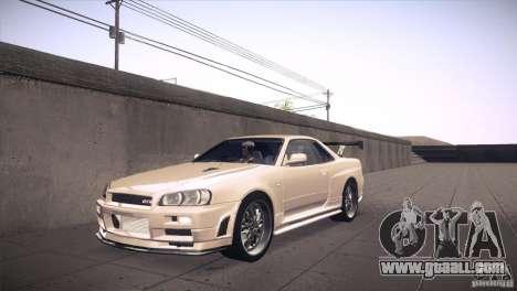 Nissan Skyline R34 for GTA San Andreas bottom view