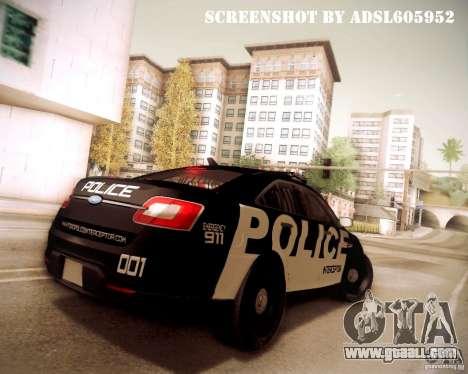 Ford Taurus Police Interceptor 2011 for GTA San Andreas side view