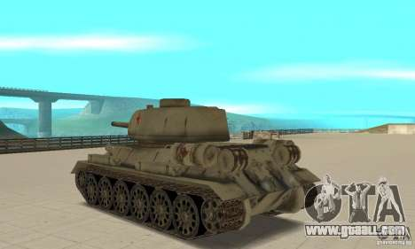 Tank T-34-85 for GTA San Andreas back left view