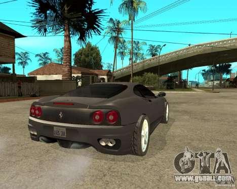 Ferrari 360 modena TUNEABLE for GTA San Andreas back left view