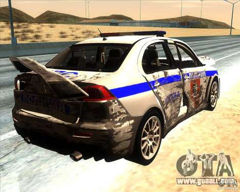 Mitsubishi Lancer Evolution X PPP Police for GTA San Andreas engine