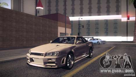 Nissan Skyline R34 for GTA San Andreas inner view