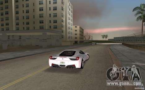Ferrari 458 Italia for GTA Vice City right view
