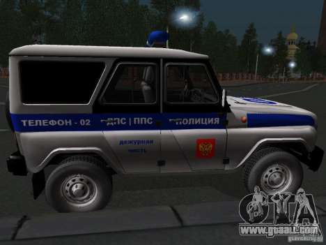 UAZ-315195 Hunter Police for GTA San Andreas back left view
