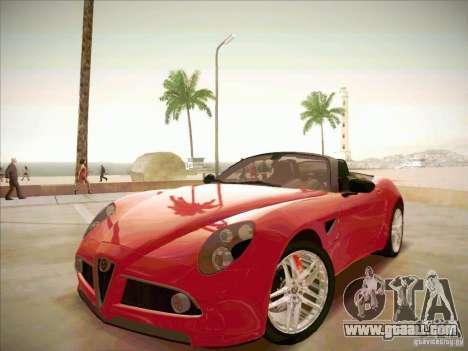 Alfa Romeo 8C Spider for GTA San Andreas