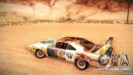 Plymouth Roadrunner Superbird Custom for GTA San Andreas inner view