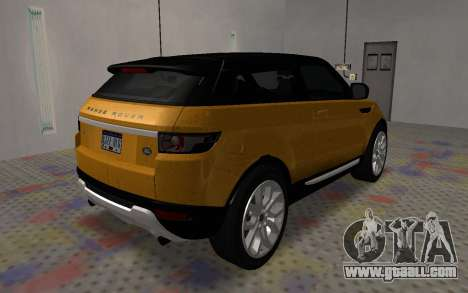 Land Rover Range Rover Evoque for GTA San Andreas back left view