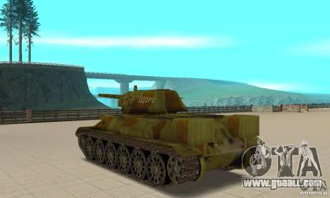 Tank T-34/76 for GTA San Andreas back left view