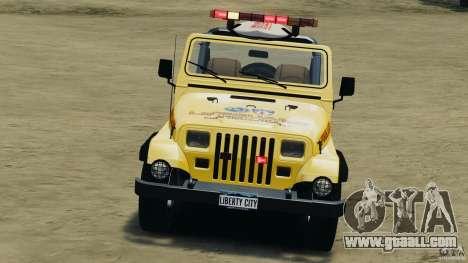 Jeep Wrangler 1988 Beach Patrol v1.1 [ELS] for GTA 4 side view