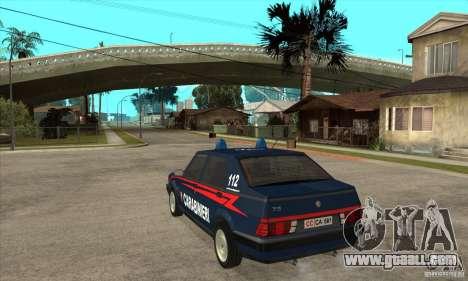 Alfa Romeo 75 Carabinieri for GTA San Andreas back left view