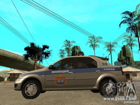 Dacia Logan Police for GTA San Andreas left view