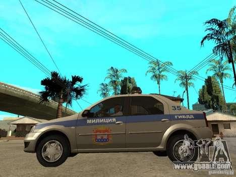 Dacia Logan Police for GTA San Andreas left view