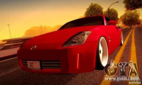 Nissan 350Z Stanceworks for GTA San Andreas inner view
