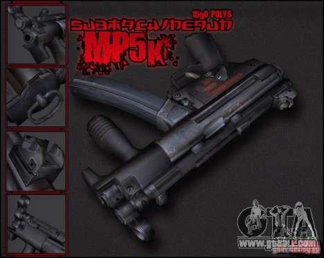MP5K for GTA San Andreas second screenshot