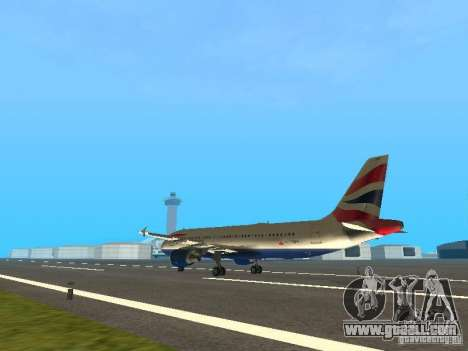 Airbus A320 British Airways for GTA San Andreas back left view