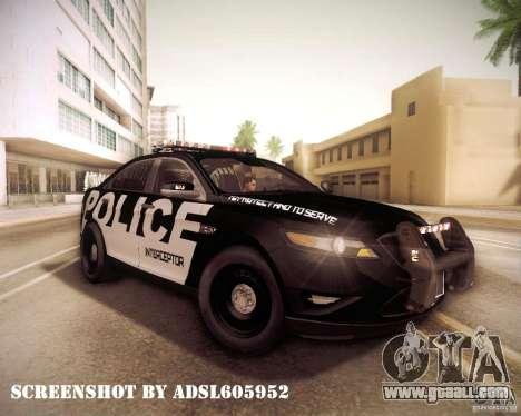 Ford Taurus Police Interceptor 2011 for GTA San Andreas inner view