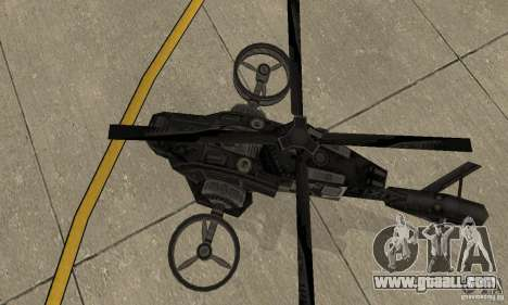 A helicopter from the game TimeShift Black for GTA San Andreas back view