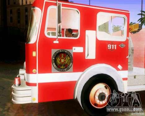 Pumper Firetruck Los Angeles Fire Dept for GTA San Andreas back view