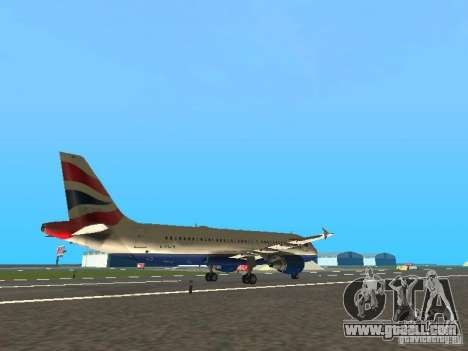 Airbus A320 British Airways for GTA San Andreas right view
