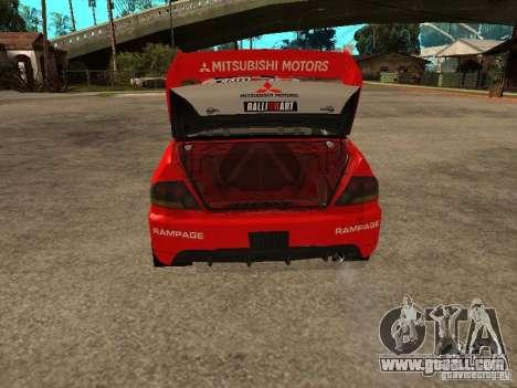 Mitsubishi Lancer Evo IX DiRT2 for GTA San Andreas bottom view