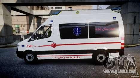 Mercedes-Benz Sprinter Iranian Ambulance [ELS] for GTA 4 left view