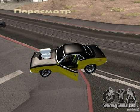 Plymouth Hemi Cuda 440 for GTA San Andreas upper view