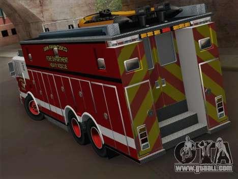 Pierce Walk-in SFFD Heavy Rescue for GTA San Andreas right view