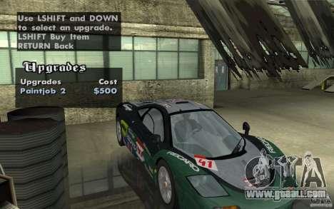 Mclaren F1 road version 1997 (v1.0.0) for GTA San Andreas inner view