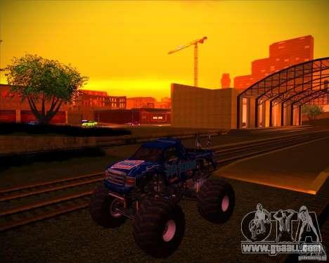 Monster Truck Blue Thunder for GTA San Andreas bottom view