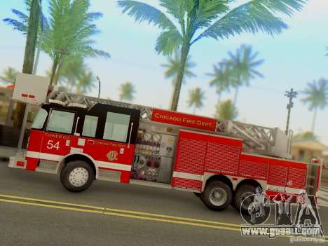 Pierce Tower Ladder 54 Chicago Fire Department for GTA San Andreas left view