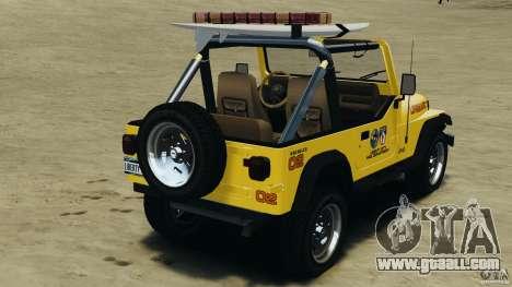 Jeep Wrangler 1988 Beach Patrol v1.1 [ELS] for GTA 4 back left view