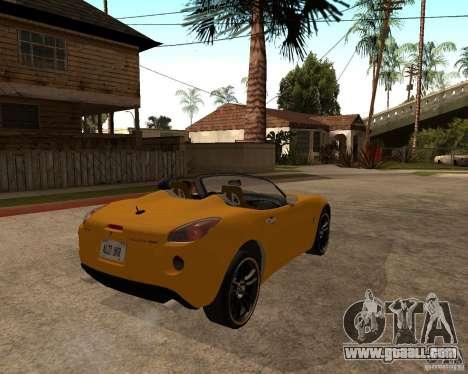 Pontiac Solstice GXP for GTA San Andreas back left view
