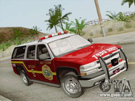 Chevrolet Suburban SFFD for GTA San Andreas right view