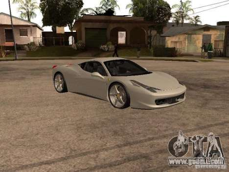 Ferrari 458 Italia for GTA San Andreas left view