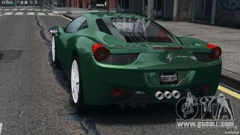 Ferrari 458 Italia 2010 for GTA 4 back left view