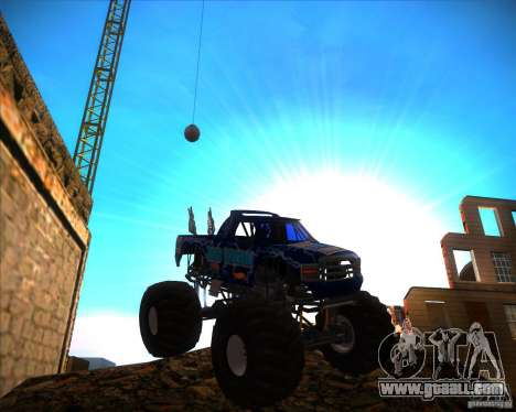 Monster Truck Blue Thunder for GTA San Andreas back view