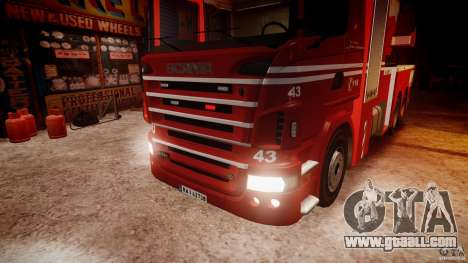 Scania Fire Ladder v1.1 Emerglights red [ELS] for GTA 4 upper view