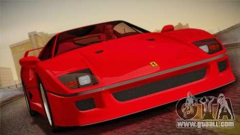 Ferrari F40 1987 for GTA San Andreas upper view