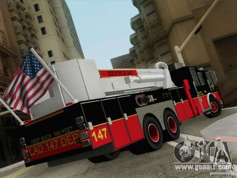Seagrave Marauder II. SFFD Ladder 147 for GTA San Andreas back left view