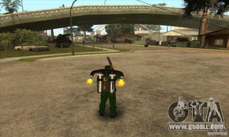 Shooting with a sawn-off shotgun with Jetpack for GTA San Andreas