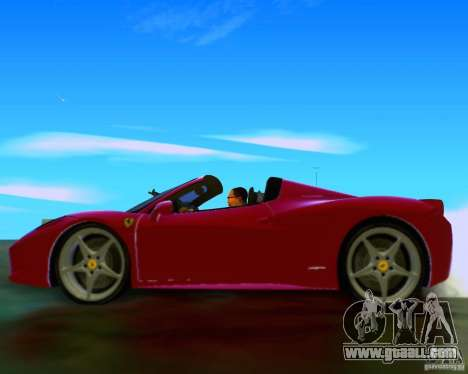 Ferrari 458 Spider for GTA San Andreas inner view