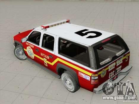 Chevrolet Suburban SFFD for GTA San Andreas upper view