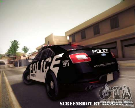 Ford Taurus Police Interceptor 2011 for GTA San Andreas back view