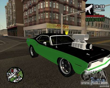 Plymouth Hemi Cuda 440 for GTA San Andreas inner view