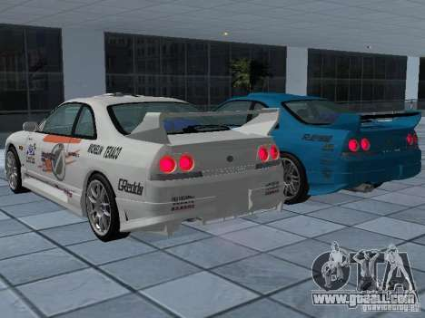 Nissan Skyline R 33 GT-R for GTA San Andreas bottom view