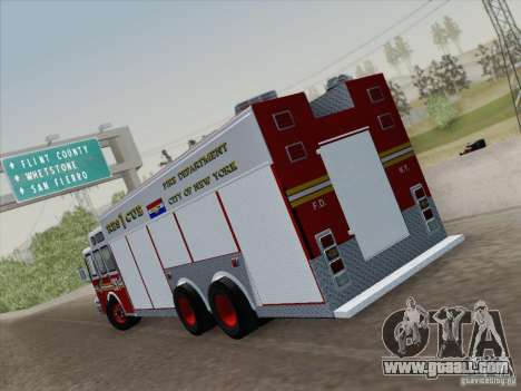 E-One F.D.N.Y Fire Rescue 1 for GTA San Andreas back left view