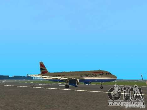 Airbus A320 British Airways for GTA San Andreas left view