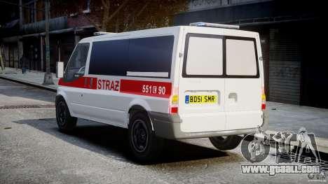 Ford Transit Polish Firetruck [ELS] for GTA 4 back left view