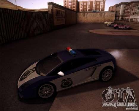 Lamborghini Gallardo LP560-4 Undercover Police for GTA San Andreas left view